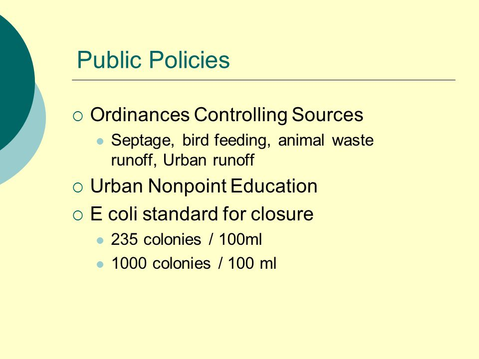 Public Policies  Ordinances Controlling Sources Septage, bird feeding, animal waste runoff, Urban runoff  Urban Nonpoint Education  E coli standard for closure 235 colonies / 100ml 1000 colonies / 100 ml