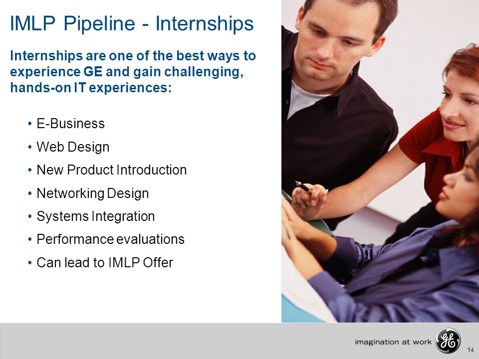 14 IMLP Pipeline - Internships E-Business Web Design New Product Introduction Networking Design Systems Integration Performance evaluations Can lead t