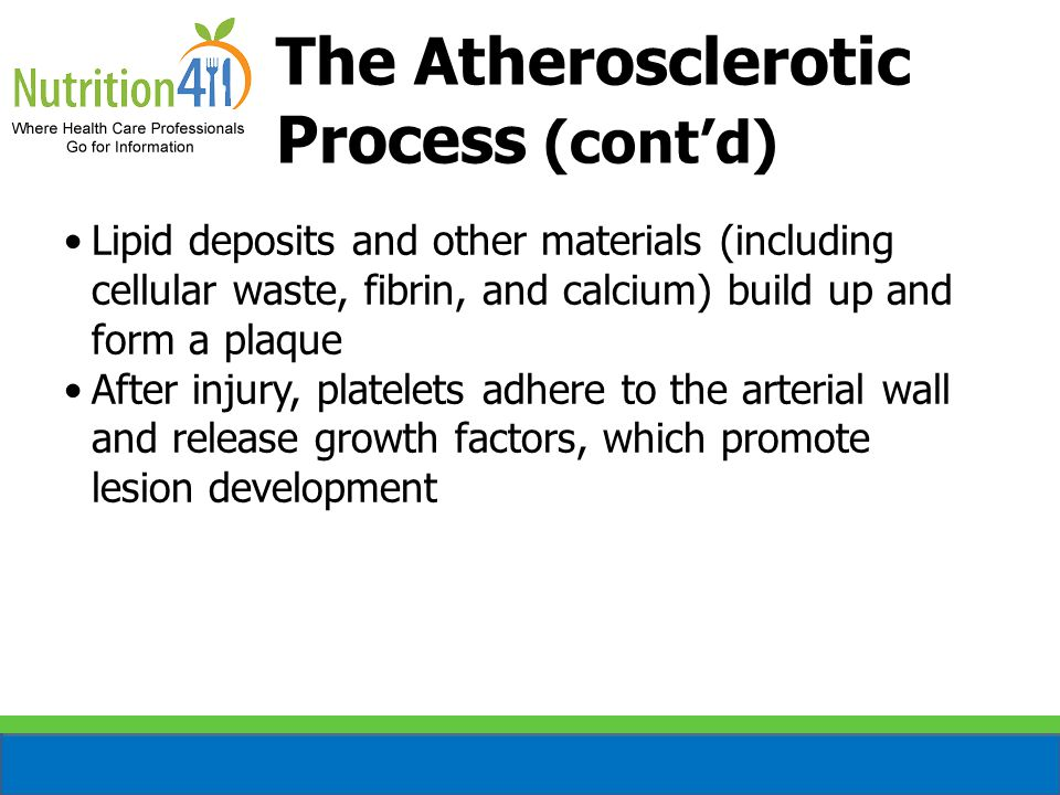 The Atherosclerotic Process (cont'd) Lipid deposits and other materials (including cellular waste, fibrin, and calcium) build up and form a plaque After injury, platelets adhere to the arterial wall and release growth factors, which promote lesion development