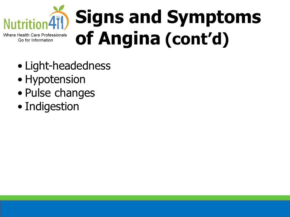 Signs and Symptoms of Angina (cont'd) Light-headedness Hypotension Pulse changes Indigestion