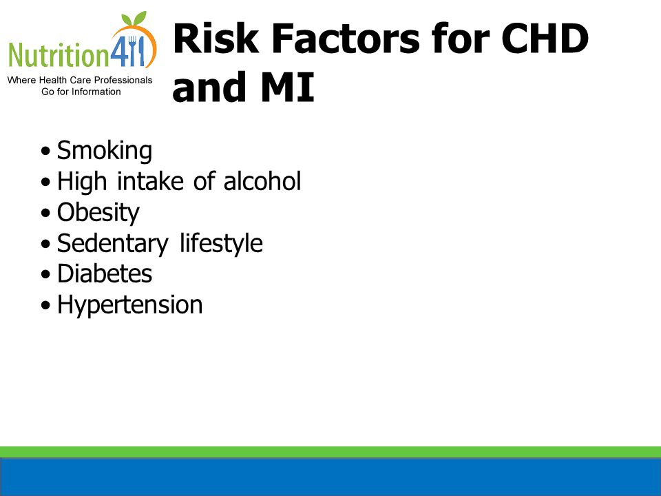 Risk Factors for CHD and MI Smoking High intake of alcohol Obesity Sedentary lifestyle Diabetes Hypertension