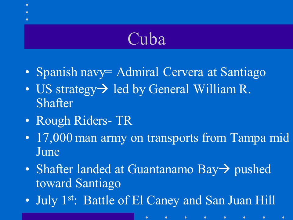 Cuba Spanish navy= Admiral Cervera at Santiago US strategy  led by General William R. Shafter Rough Riders- TR 17,000 man army on transports from Tam