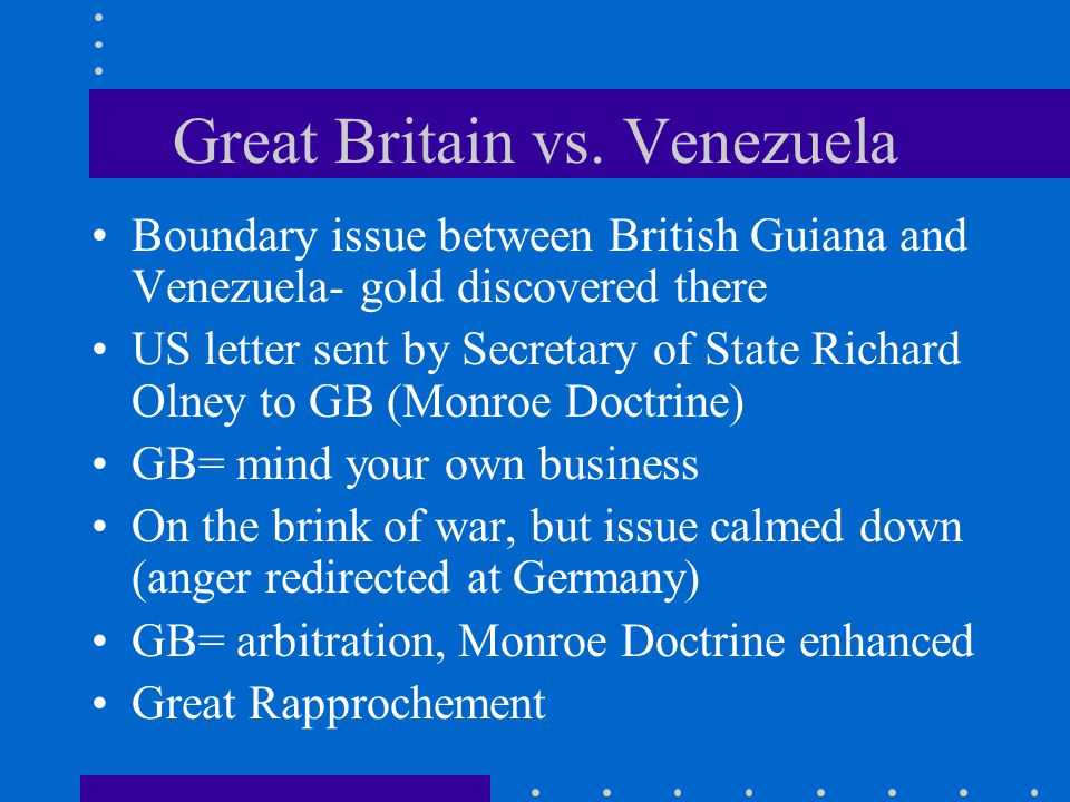 They Can't Fight Britain and America waged a war of words during the Venezuelan boundary dispute, but cooler heads prevailed.