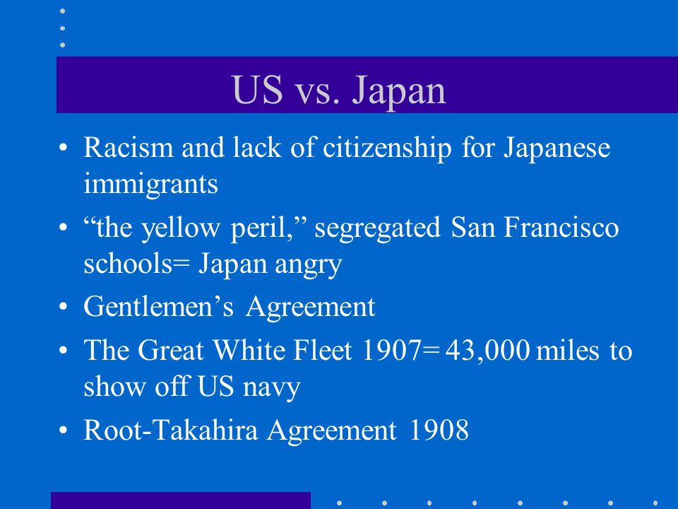 "US vs. Japan Racism and lack of citizenship for Japanese immigrants ""the yellow peril,"" segregated San Francisco schools= Japan angry Gentlemen's Agre"