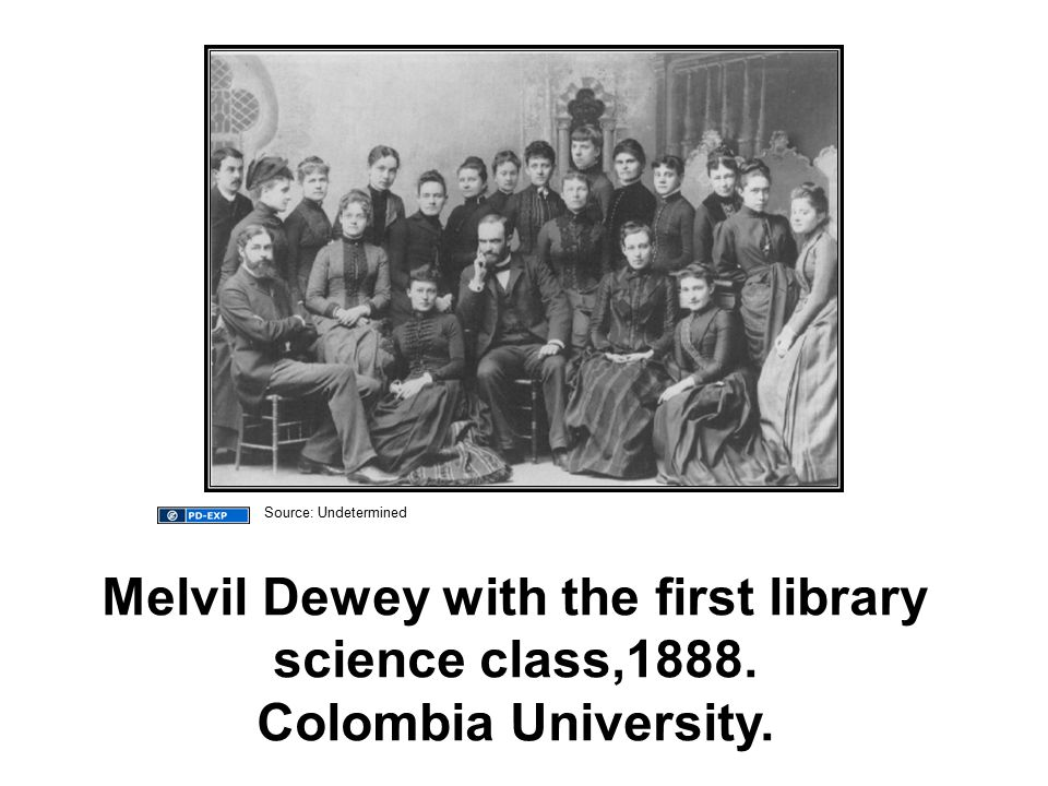 Melvil Dewey with the first library science class,1888. Colombia University. Source: Undetermined