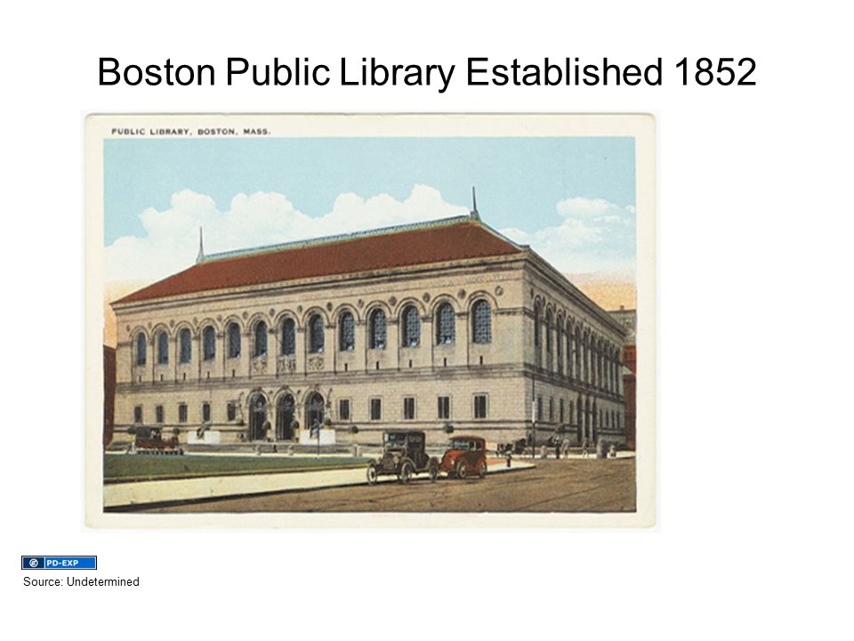 Boston Public Library Established 1852 Source: Undetermined