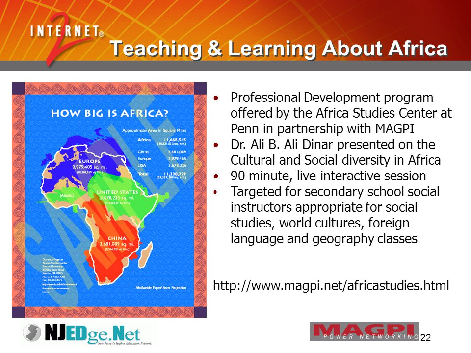 22 Teaching & Learning About Africa Professional Development program offered by the Africa Studies Center at Penn in partnership with MAGPI Dr.