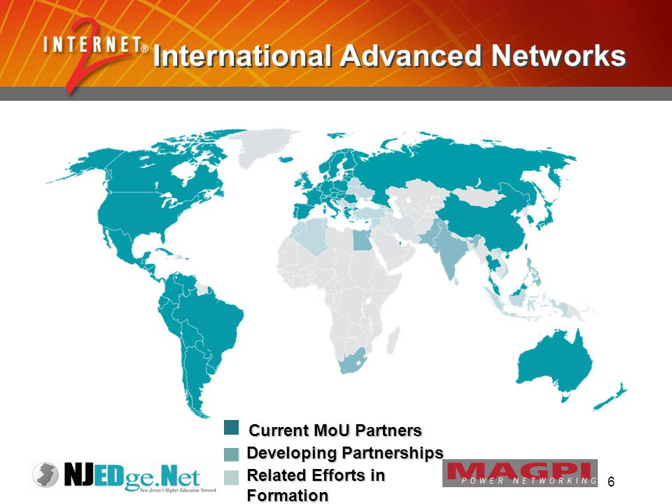 6 International Advanced Networks Current MoU Partners Developing Partnerships Related Efforts in Formation