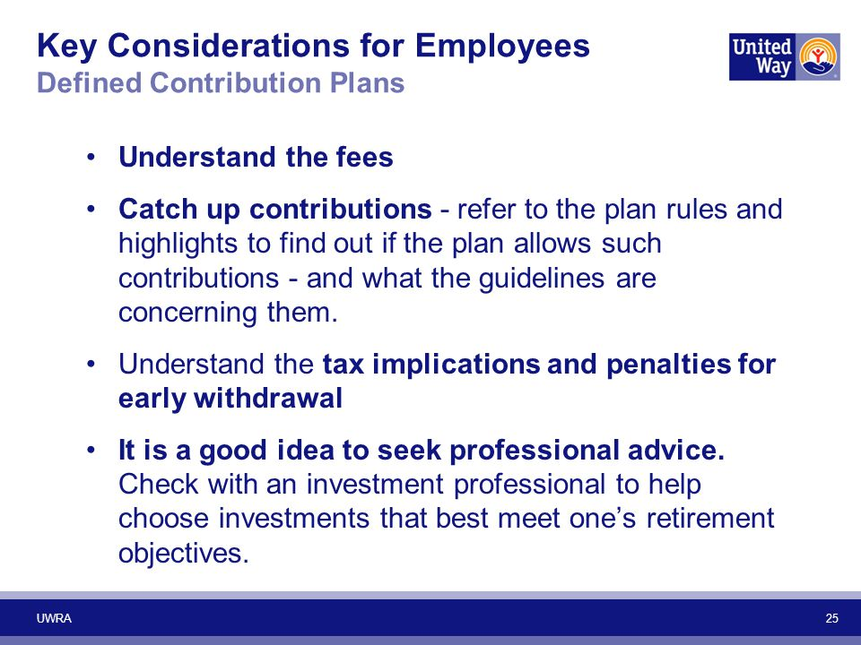 Key Considerations for Employees Defined Contribution Plans Understand the fees Catch up contributions - refer to the plan rules and highlights to fin