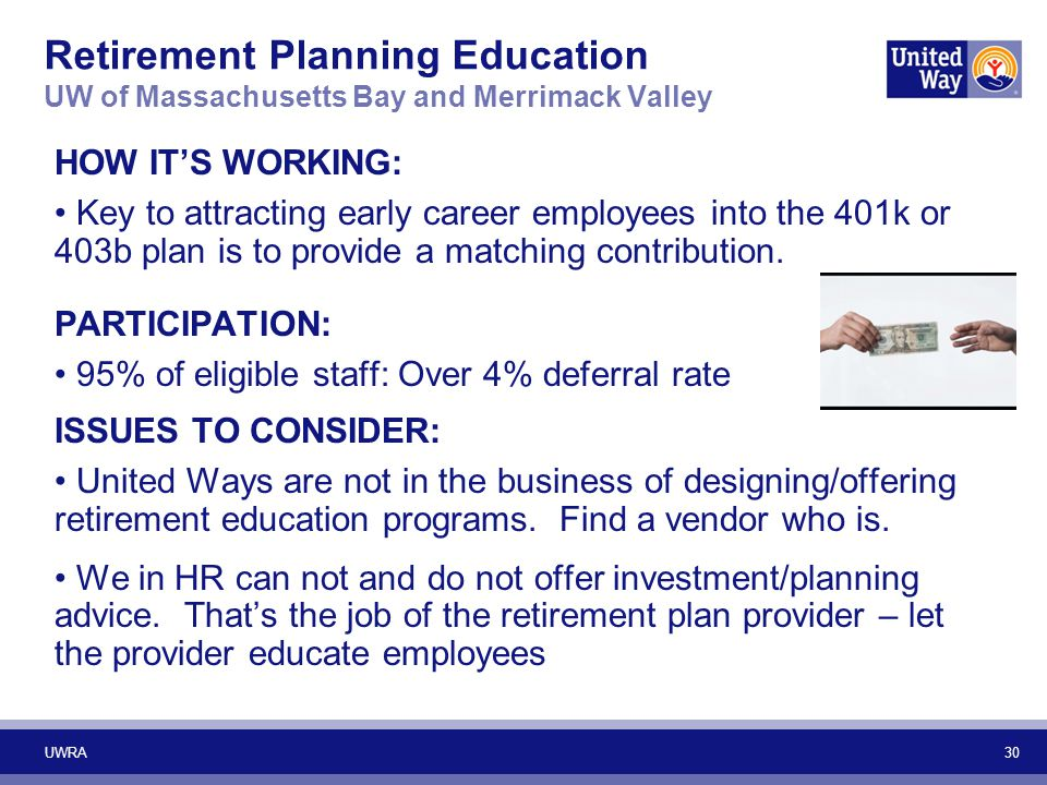 30 Retirement Planning Education UW of Massachusetts Bay and Merrimack Valley HOW IT'S WORKING: Key to attracting early career employees into the 401k