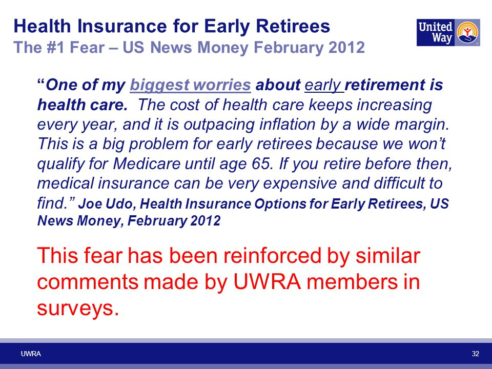 "32 Health Insurance for Early Retirees The #1 Fear – US News Money February 2012 ""One of my biggest worries about early retirement is health care. The"