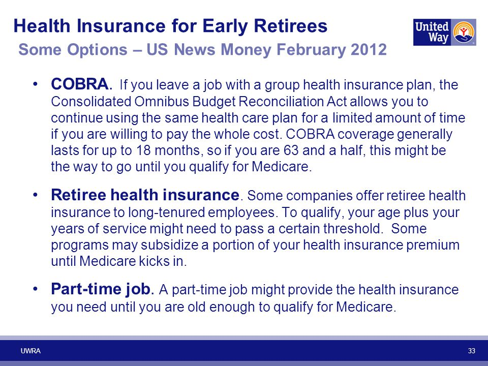 33 Health Insurance for Early Retirees Some Options – US News Money February 2012 COBRA. If you leave a job with a group health insurance plan, the Co