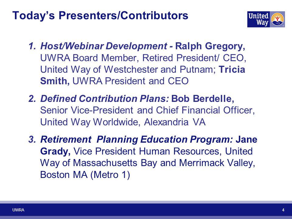 5 Today's Presenters/Contributors 4.