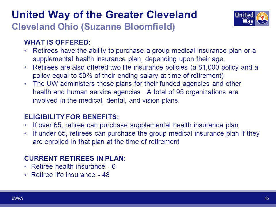 45 United Way of the Greater Cleveland Cleveland Ohio (Suzanne Bloomfield) WHAT IS OFFERED: Retirees have the ability to purchase a group medical insu