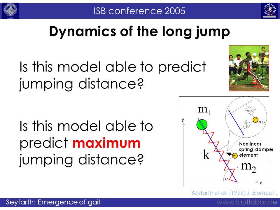 ISB conference 2005 Seyfarth: Emergence of gaitwww.lauflabor.de Seyfarth et al. (1999) J. Biomech. Dynamics of the long jump k m1m1 m2m2 Nonlinear spr