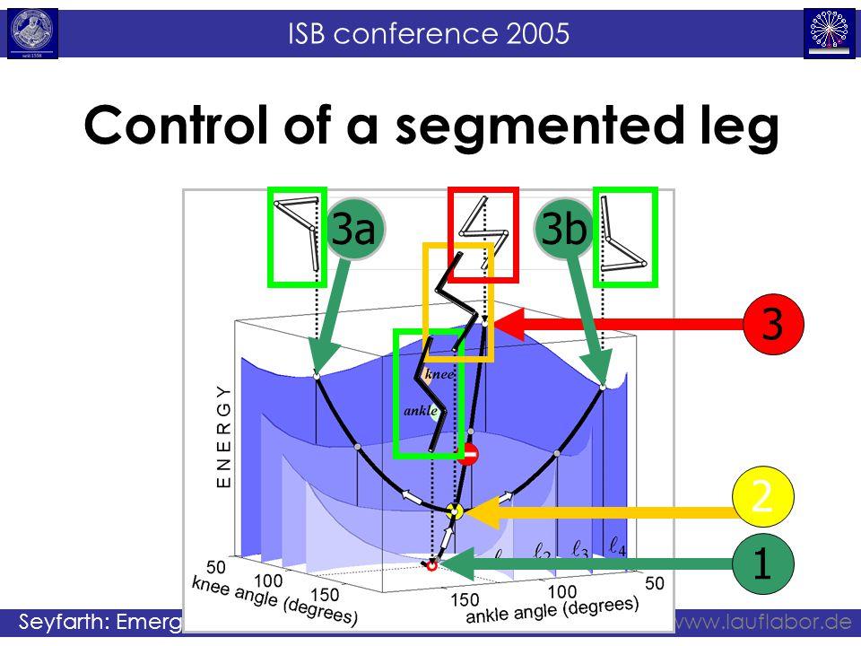ISB conference 2005 Seyfarth: Emergence of gaitwww.lauflabor.de Control of a segmented leg 1 2 3 3b3a