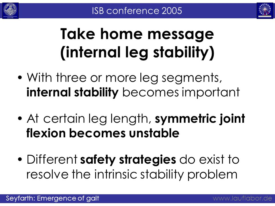 ISB conference 2005 Seyfarth: Emergence of gaitwww.lauflabor.de Take home message (internal leg stability) With three or more leg segments, internal stability becomes important At certain leg length, symmetric joint flexion becomes unstable Different safety strategies do exist to resolve the intrinsic stability problem
