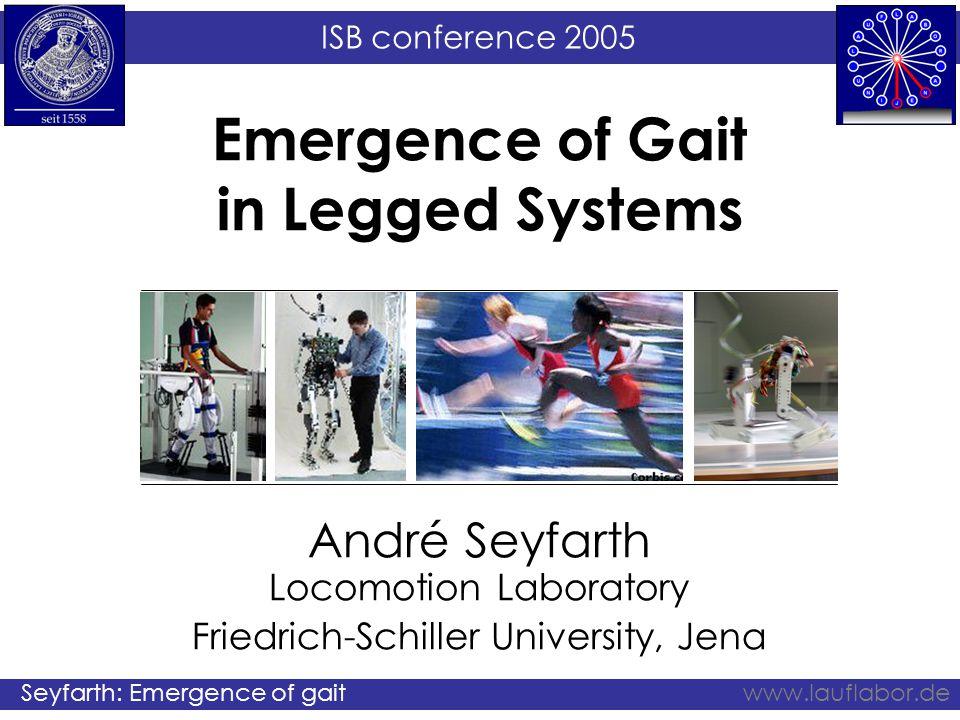ISB conference 2005 Seyfarth: Emergence of gaitwww.lauflabor.de Emergence of Gait in Legged Systems André Seyfarth Locomotion Laboratory Friedrich-Sch