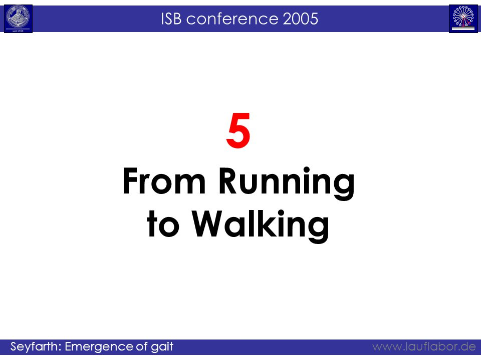 ISB conference 2005 Seyfarth: Emergence of gaitwww.lauflabor.de 5 From Running to Walking