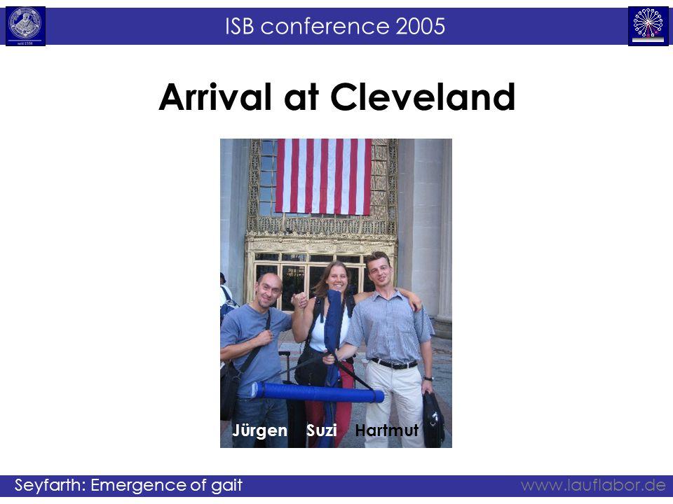 ISB conference 2005 Seyfarth: Emergence of gaitwww.lauflabor.de Arrival at Cleveland JürgenSuziHartmut