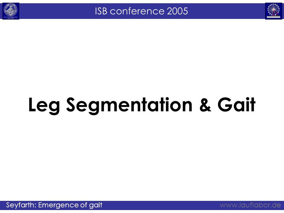 ISB conference 2005 Seyfarth: Emergence of gaitwww.lauflabor.de Leg Segmentation & Gait