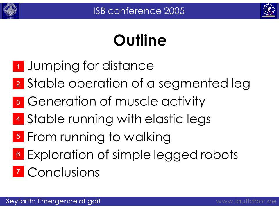 ISB conference 2005 Seyfarth: Emergence of gaitwww.lauflabor.de Outline Jumping for distance Stable operation of a segmented leg Generation of muscle activity Stable running with elastic legs From running to walking Exploration of simple legged robots Conclusions 1 2 3 4 5 6 7