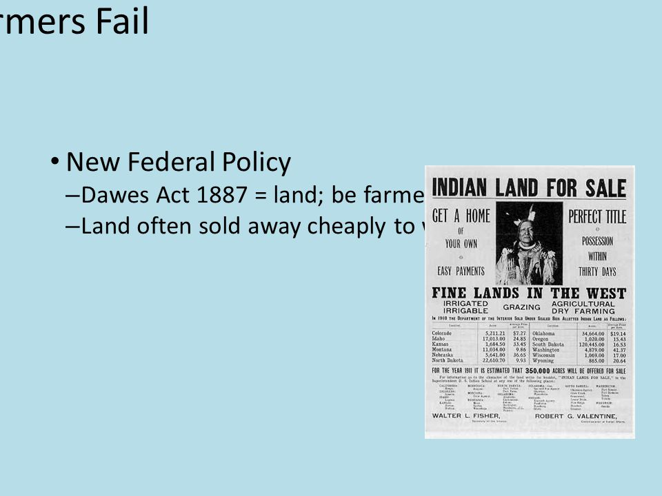 Reformers Fail New Federal Policy – Dawes Act 1887 = land; be farmers – Land often sold away cheaply to whites Westward Expansion