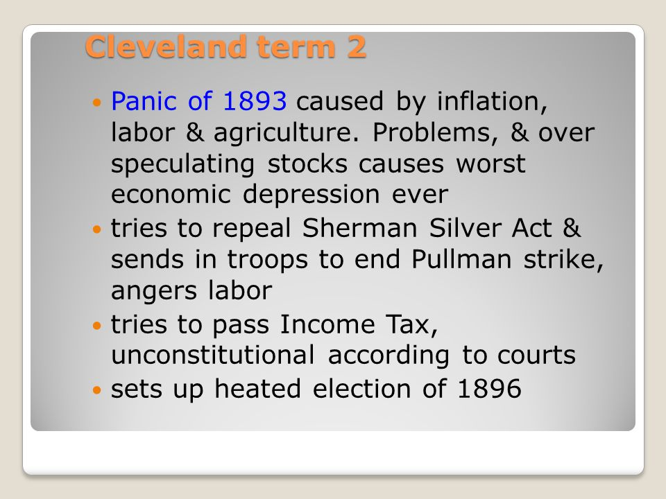 Election of 1892 Harrison-R vs. Cleveland-D as well as Populist James Weaver Cleveland wins making him the only President to serve two non-consecutive