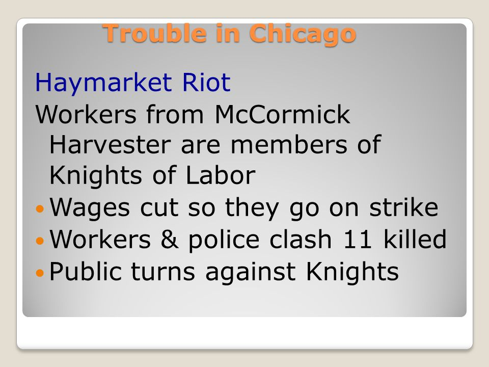 Union Action through strikes! (RR strike of 1877 happens when wages cut  Workers destroy rail yards, track  Strikebreakers hired to replace workers