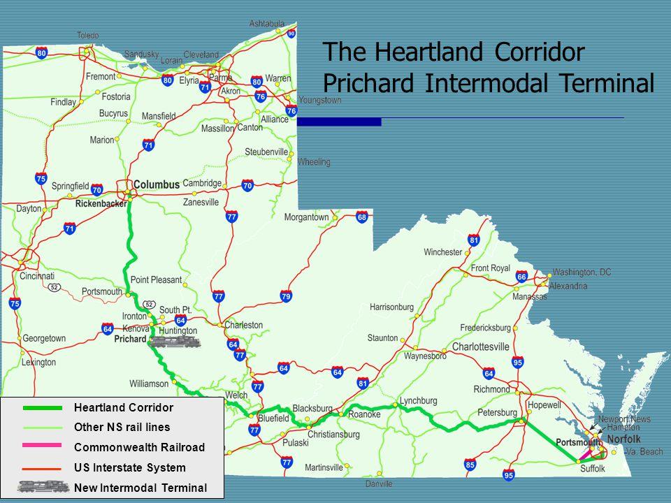 The Heartland Corridor Prichard Intermodal Terminal Heartland Corridor Other NS rail lines Commonwealth Railroad US Interstate System New Intermodal T