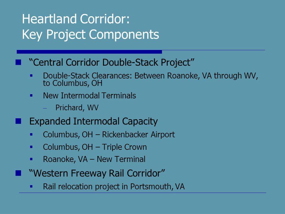 "Heartland Corridor: Key Project Components ""Central Corridor Double-Stack Project""  Double-Stack Clearances: Between Roanoke, VA through WV, to Colum"