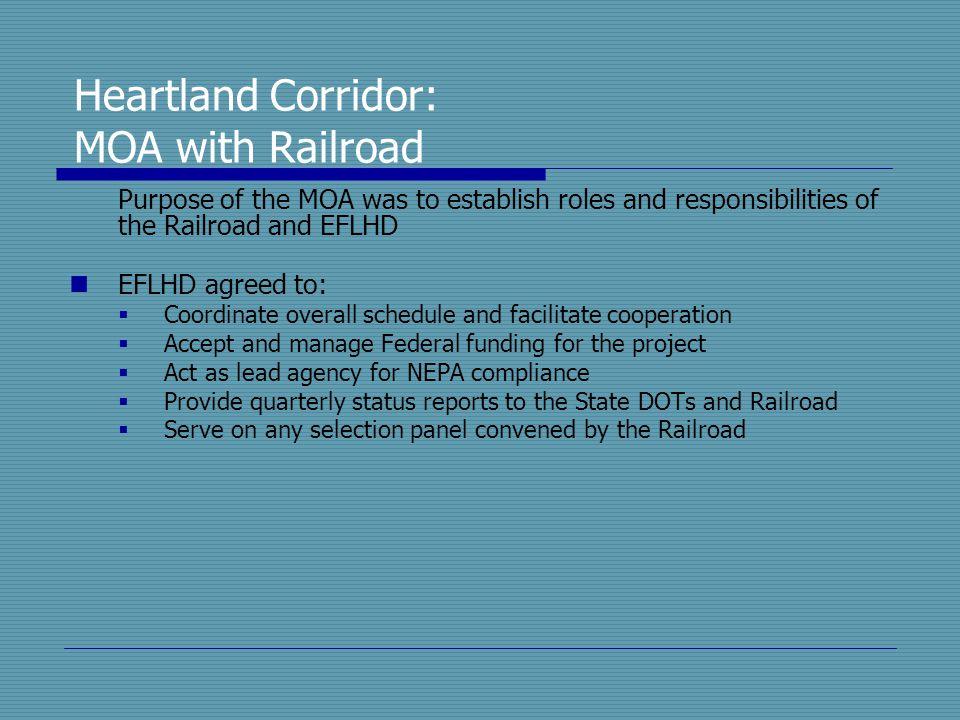 Heartland Corridor: MOA with Railroad Purpose of the MOA was to establish roles and responsibilities of the Railroad and EFLHD EFLHD agreed to:  Coor