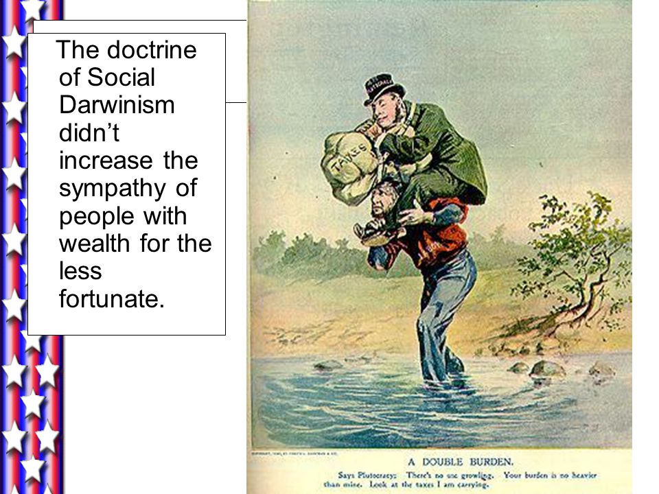The doctrine of Social Darwinism didn't increase the sympathy of people with wealth for the less fortunate.