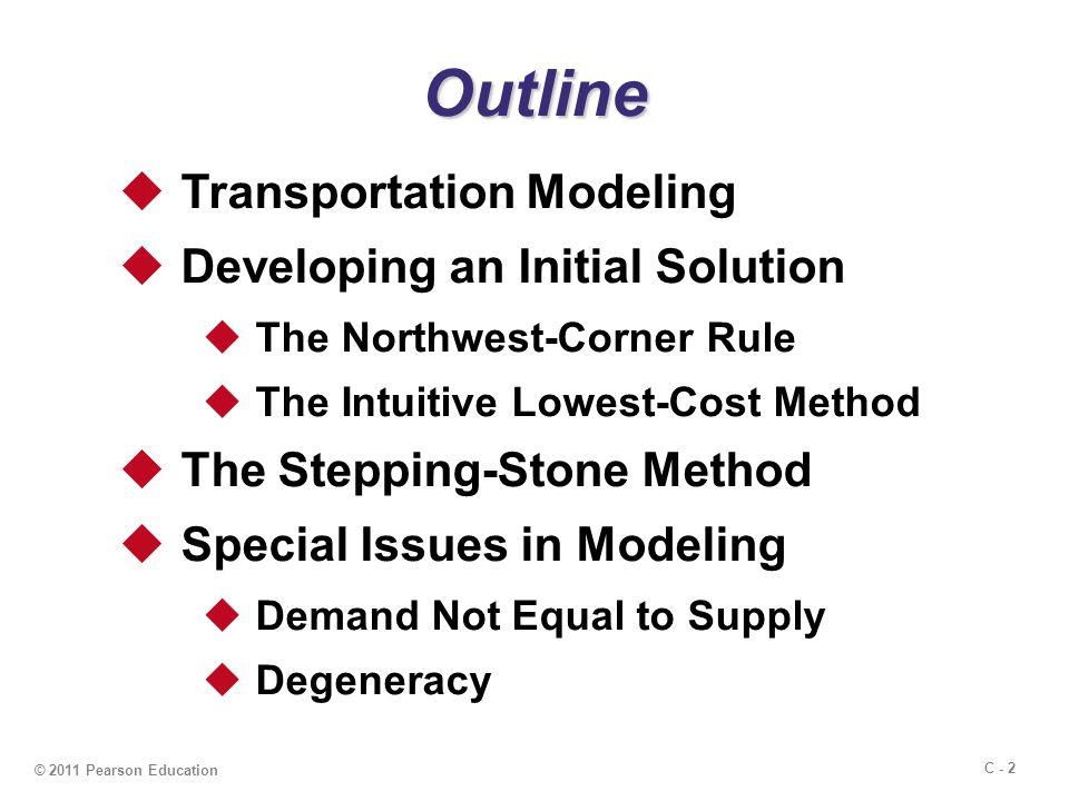 C - 13 The steps of the northwest corner method are summarized here: 1.