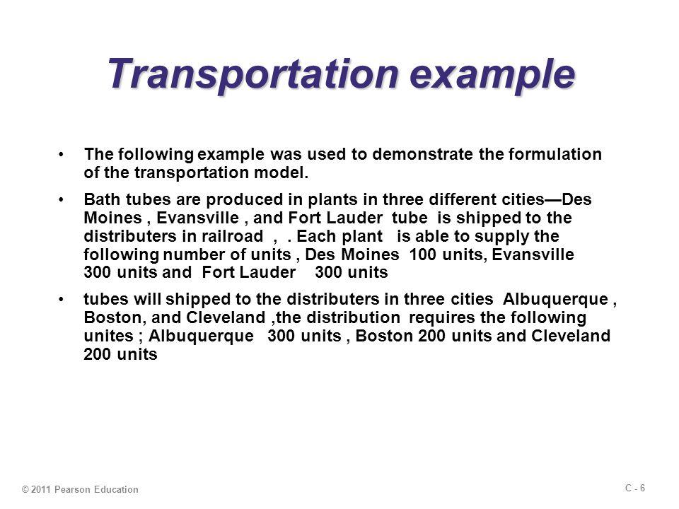 C - 7 © 2011 Pearson Education shipping cost per unit shipping cost per unit To From AlbuquerqueBostonCleveland Des Moines$5$4$3 Evansville$8$4$3 Fort Lauder$9$7$5 Table C.1