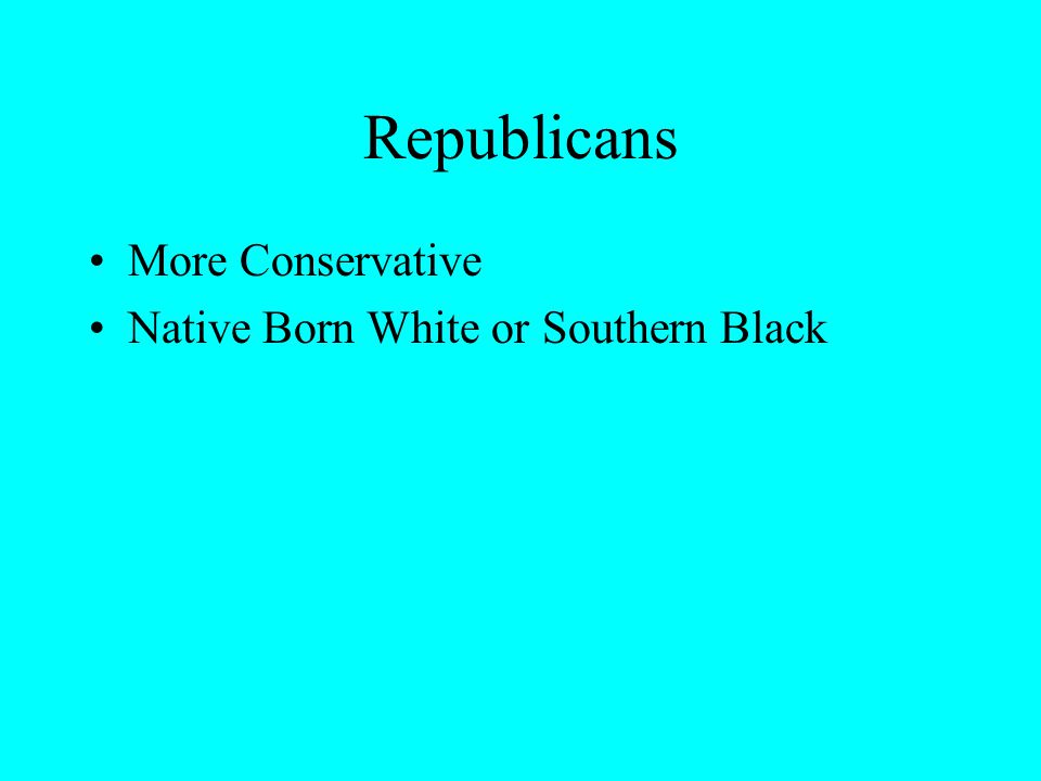 Republicans More Conservative Native Born White or Southern Black