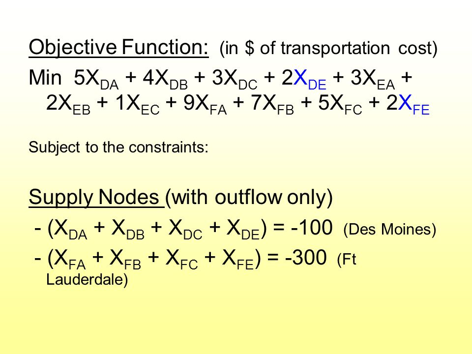 Objective Function: (in $ of transportation cost) Min 5X DA + 4X DB + 3X DC + 2X DE + 3X EA + 2X EB + 1X EC + 9X FA + 7X FB + 5X FC + 2X FE Subject to the constraints: Supply Nodes (with outflow only) - (X DA + X DB + X DC + X DE ) = -100 (Des Moines) - (X FA + X FB + X FC + X FE ) = -300 (Ft Lauderdale)