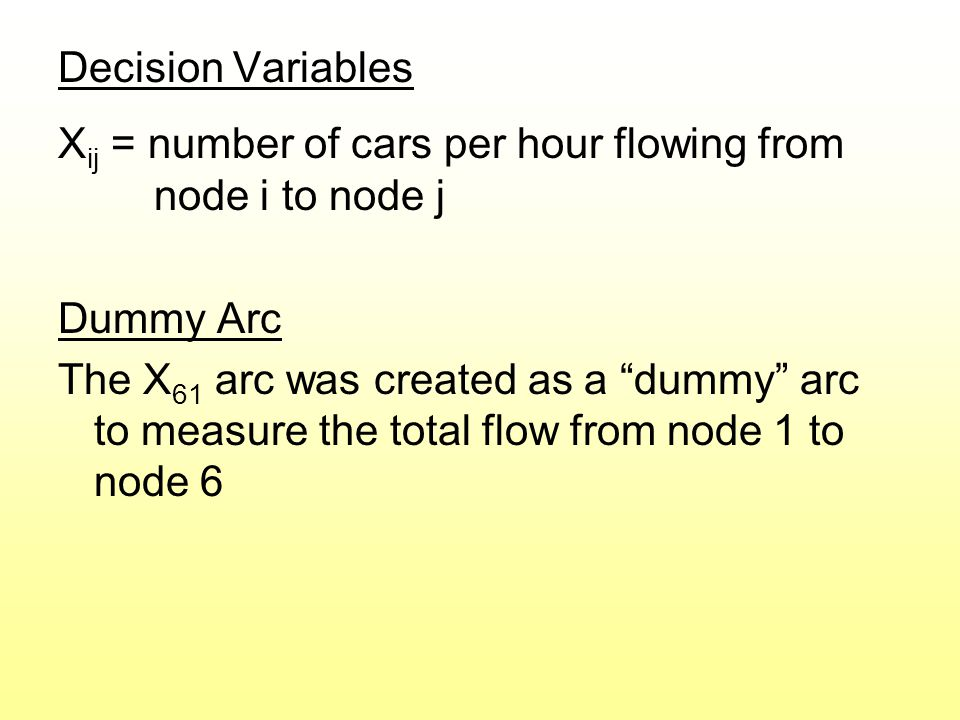 Decision Variables X ij = number of cars per hour flowing from node i to node j Dummy Arc The X 61 arc was created as a dummy arc to measure the total flow from node 1 to node 6