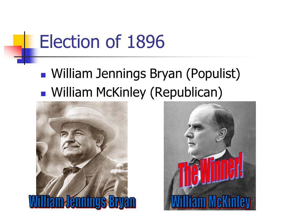 Election of 1896 William Jennings Bryan (Populist) William McKinley (Republican)