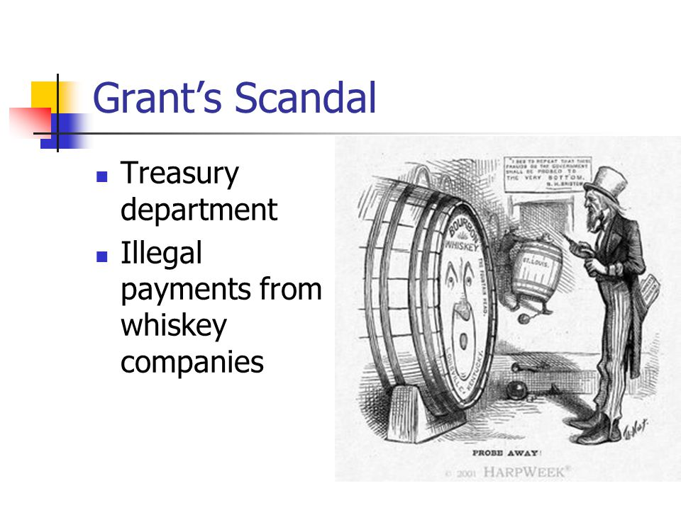 Grant's Scandal Treasury department Illegal payments from whiskey companies