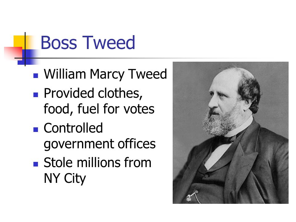 Boss Tweed William Marcy Tweed Provided clothes, food, fuel for votes Controlled government offices Stole millions from NY City