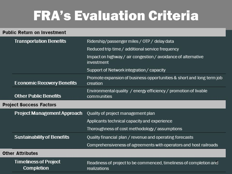 3 FRA's Evaluation Criteria Public Return on Investment Transportation Benefits Ridership/passenger miles / OTP / delay data Reduced trip time / additional service frequency Impact on highway / air congestion / avoidance of alternative investment Support of Network integration / capacity Economic Recovery Benefits Promote expansion of business opportunities & short and long term job creation Other Public Benefits Environmental quality / energy efficiency / promotion of livable communities Project Success Factors Project Management Approach Quality of project management plan Applicants technical capacity and experience Thoroughness of cost methodology / assumptions Sustainability of Benefits Quality financial plan / revenue and operating forecasts Comprehensiveness of agreements with operators and host railroads Other Attributes Timeliness of Project Completion Readiness of project to be commenced, timeliness of completion and realizations