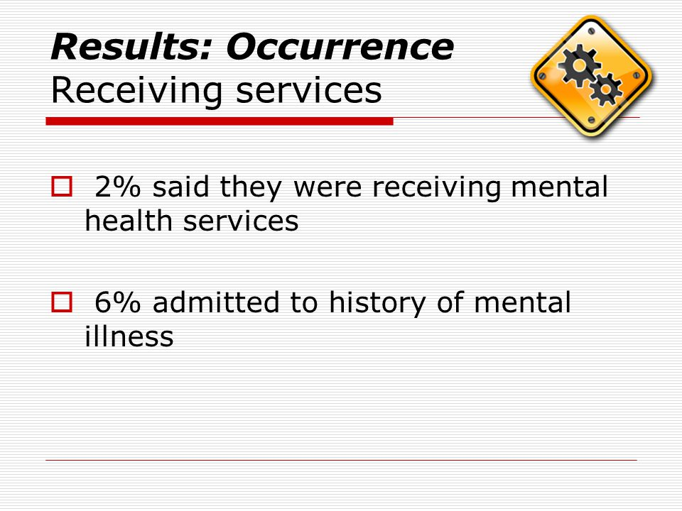 Results: Occurrence Receiving services  2% said they were receiving mental health services  6% admitted to history of mental illness