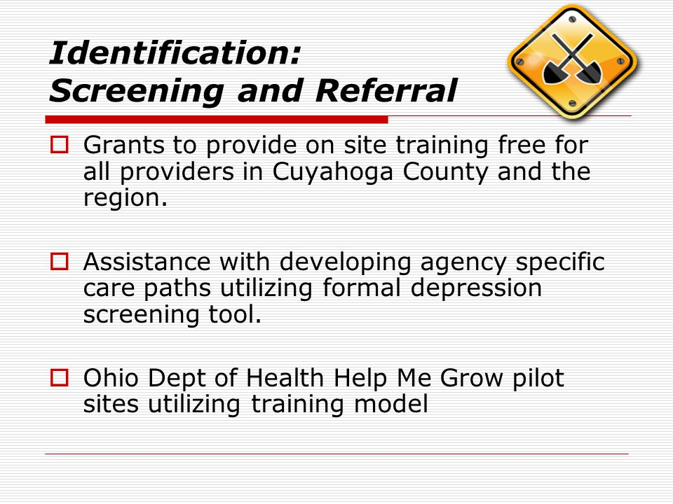 Identification: Screening and Referral  Grants to provide on site training free for all providers in Cuyahoga County and the region.