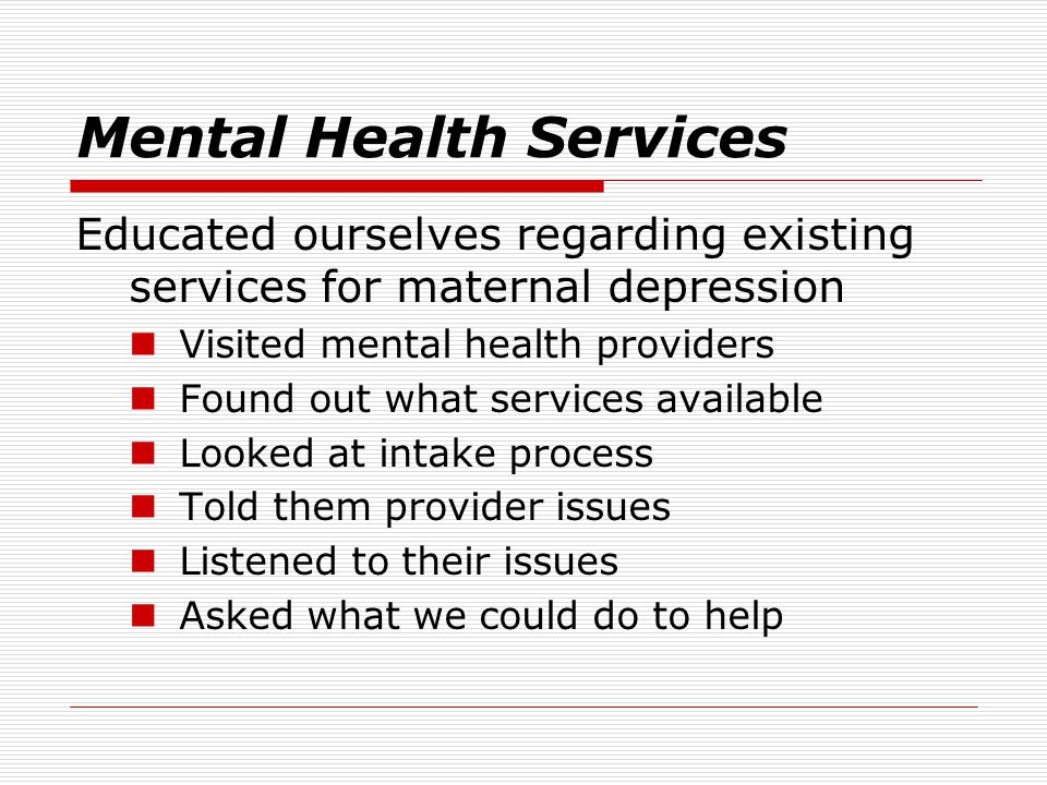Mental Health Services Educated ourselves regarding existing services for maternal depression Visited mental health providers Found out what services available Looked at intake process Told them provider issues Listened to their issues Asked what we could do to help