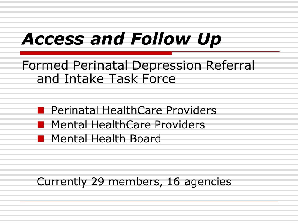 Access and Follow Up Formed Perinatal Depression Referral and Intake Task Force Perinatal HealthCare Providers Mental HealthCare Providers Mental Health Board Currently 29 members, 16 agencies