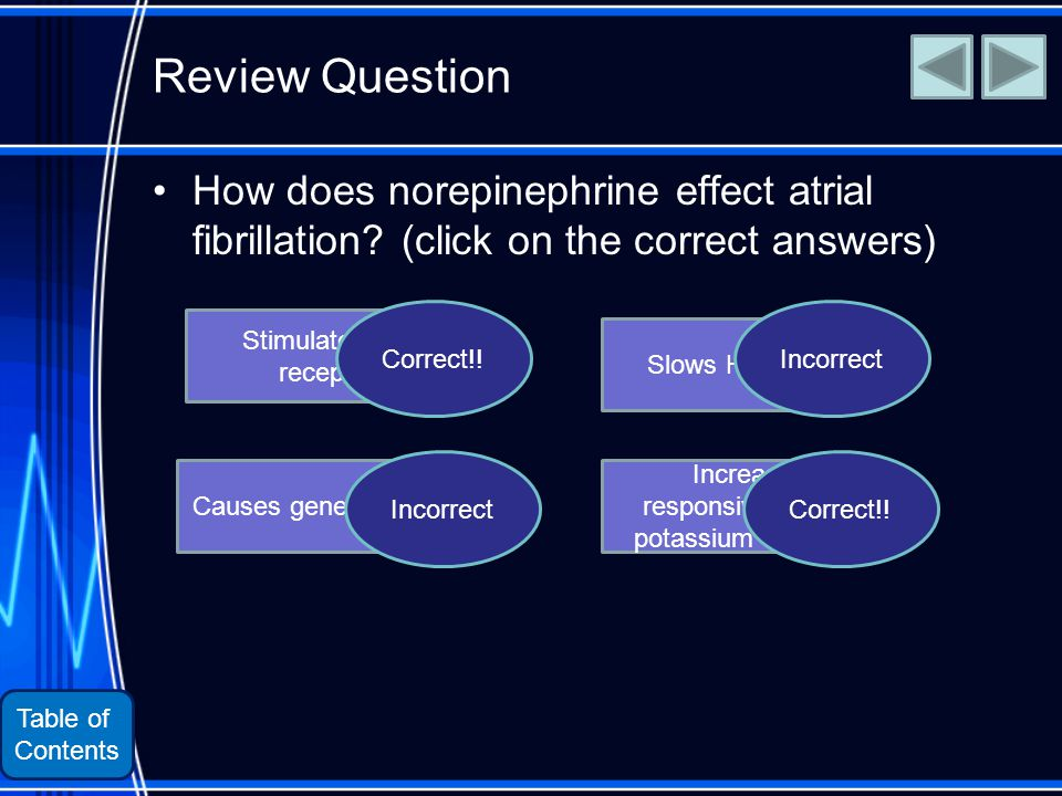 Table of Contents Review Question How does norepinephrine effect atrial fibrillation.