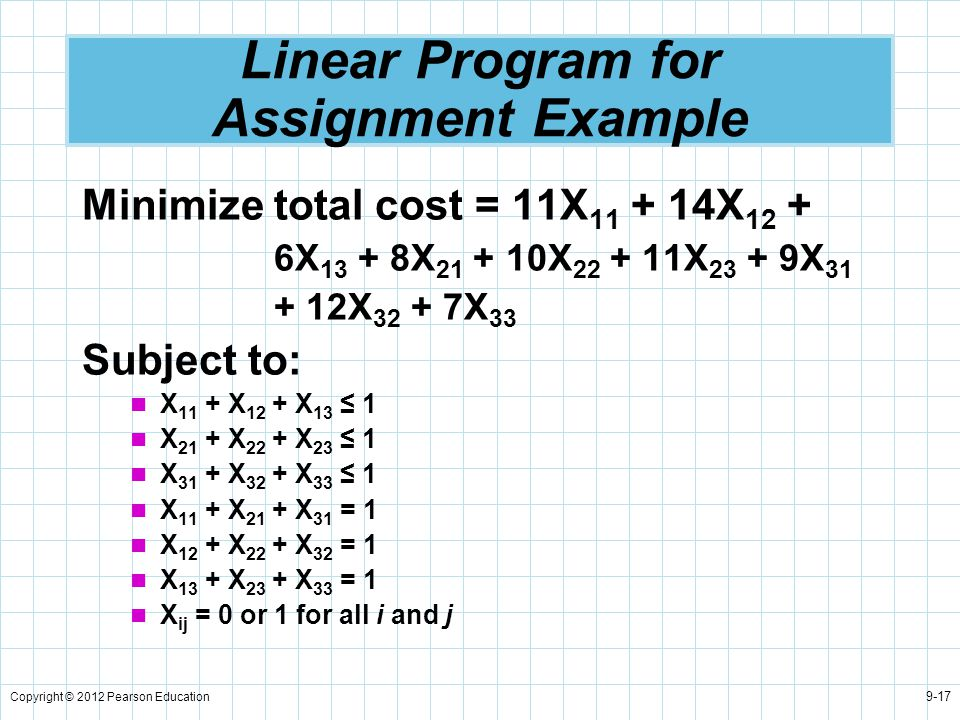 Copyright © 2012 Pearson Education 9-17 Linear Program for Assignment Example Minimize total cost = 11X 11 + 14X 12 + 6X 13 + 8X 21 + 10X 22 + 11X 23