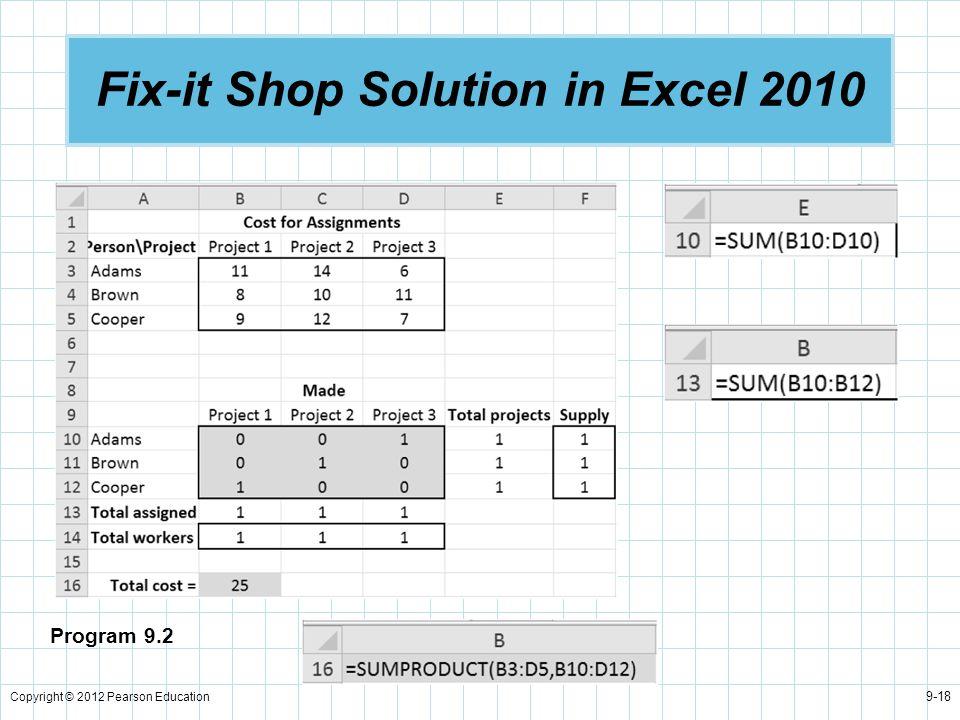 Copyright © 2012 Pearson Education 9-18 Fix-it Shop Solution in Excel 2010 Program 9.2