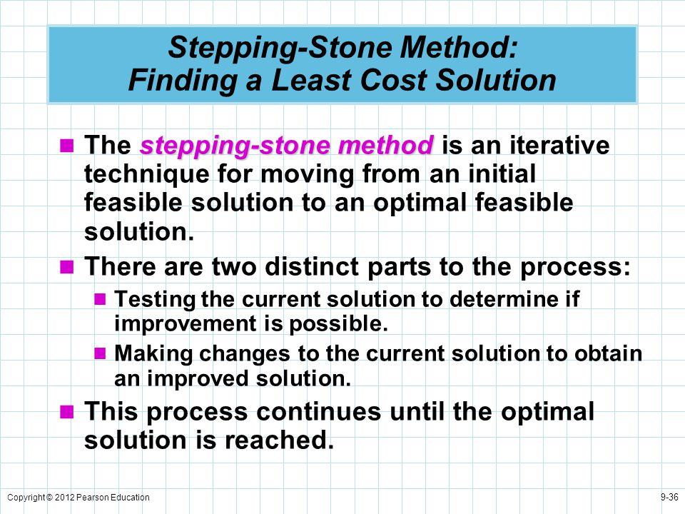 Copyright © 2012 Pearson Education 9-36 Stepping-Stone Method: Finding a Least Cost Solution stepping-stone method The stepping-stone method is an ite